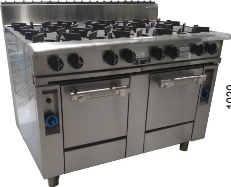 6 burners, 300mm hotplate with pilot light & 2 gas ovens 8BBTP-2OV-3H