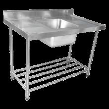 KSS 1500mm Single Sink w/ splashback and Adjustable Pot Rack