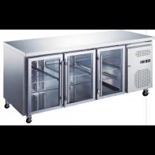 Three Door Under counter refrigerator with Glass Doors GUB500-R